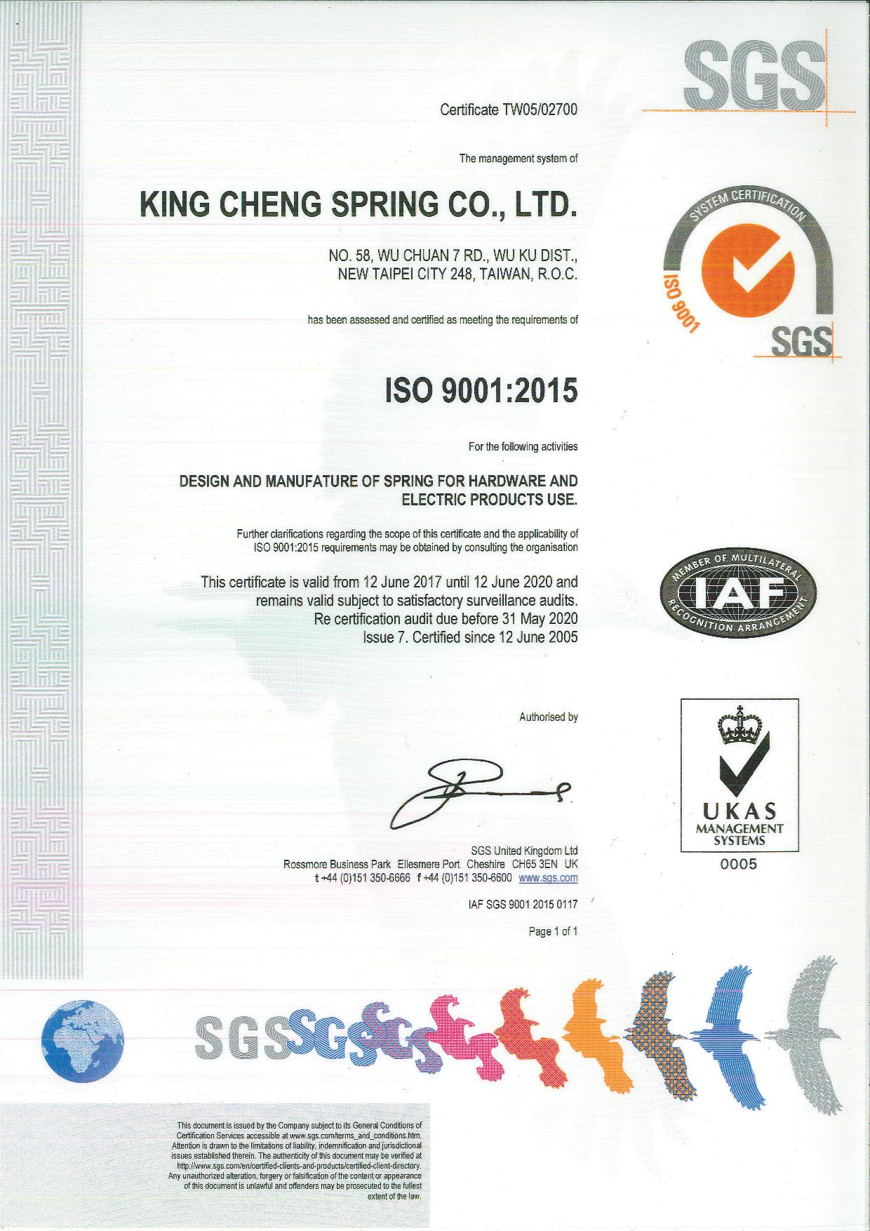 King cheng spring co ltd spring manufacturing techniques king cheng spring co ltd iso 9001 2015 certification xflitez Images